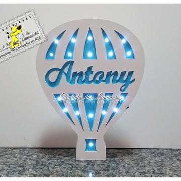 Luminoso Led Balãozinho com Nome Personalizado em 100% MDF.