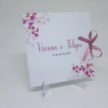 Convite flores cerejeira rosa
