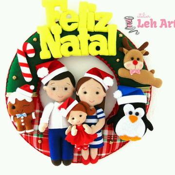Guirlanda de Natal família - Feltro