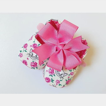 Kit Sapato de bebê e faixa de cabelo - Gatinho rosa