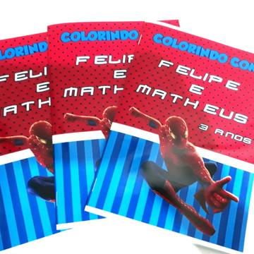 Livro colorir lembrancinha personalizado Homem Aranha