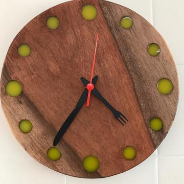 Relógio De Parede Em Madeira Maciça - Rústico