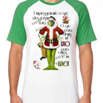 Camiseta Raglan Blusa The Grinch Lixo Luxo natal presentes