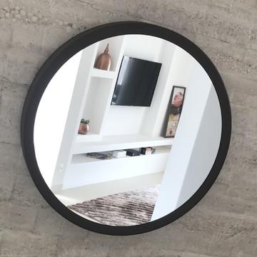 Espelho Redondo 40cm Preto Adnet Sem Alça