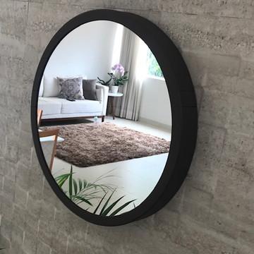 Espelho Redondo 40cm Marrom Adnet Sem Alça