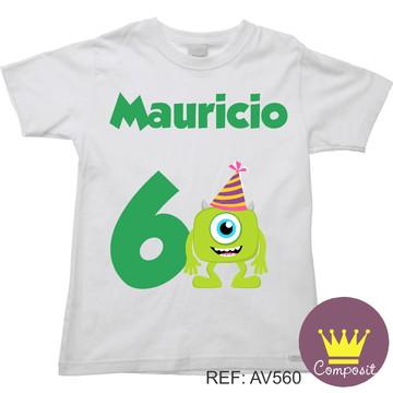 Camiseta Monstros S.A Mike Aniversario