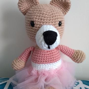Ursinha de Crochê Amigurumi Bailarina Lara