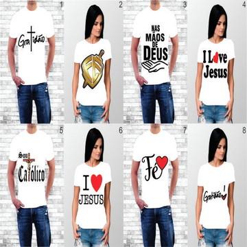 Kit 10 Camisa Personalizada Unissex Tema Religioso Variados