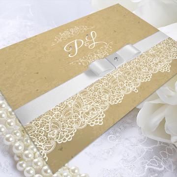 Convite de Casamento Vintage Renda (Ilustração)
