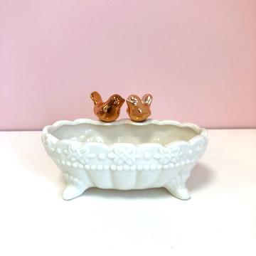 Banheira Passaro Rose Pequena de porcelana