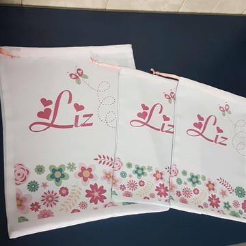 Kit 3 saquinhos personalizados nome floral