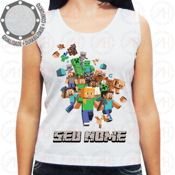 Camiseta Minecraft Personagens Correndo