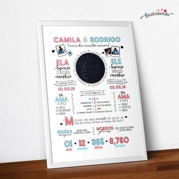 Poster Casal Namoro | Mapa das Estrelas | Digital
