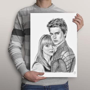 Desenho Casal - Retrato Duplo Personalizado