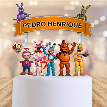topo de bolo fnaf five nights at freddys toppers, tags