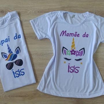 kit 2 camisetas personalizadas unicórnio