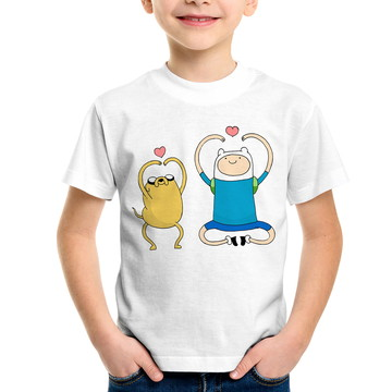 Camiseta Infantil Adventure Time Jake e Finn