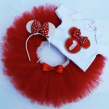 Conjunto/Fantasia Minnie vermelha