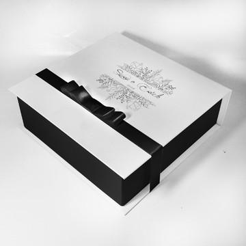 Caixa convite para Padrinhos preto e branco