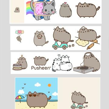 Quadro pusheen cat emoji figurinha facebook rede social