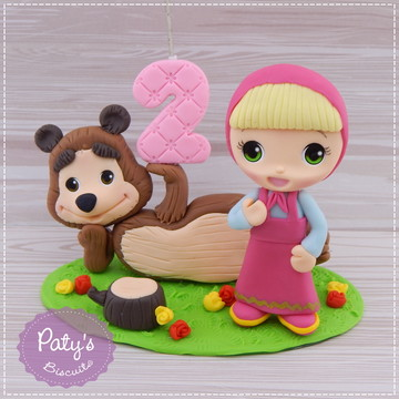 Topo com vela Masha e Urso