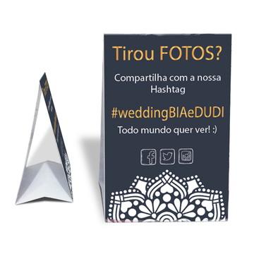 Placa hashtag para mesa casamento azul e dourado