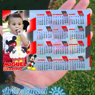 Imã de geladeira com calendário 13x9 - Mickey