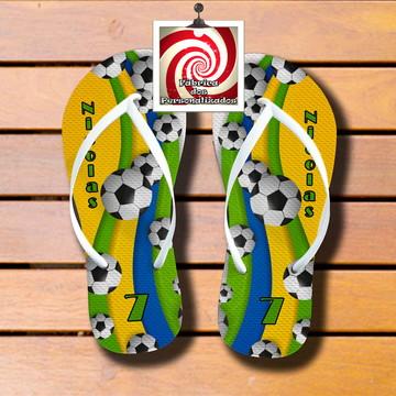 Chinelo Sandália Futebol Cores do Brasil! Lindo Brinde!