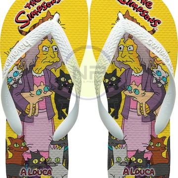 Chinelo Havaianas Personalizados Simpsons *A Louca dos Gatos