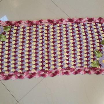 Tapete Cozinha em Crochê com Flores