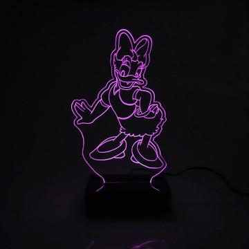 Abajur Infantil Margarida Rosa de Acrílico Com LED Especial