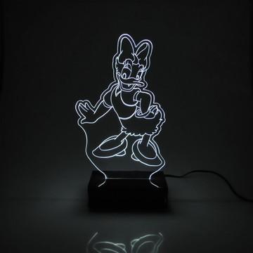Abajur Infantil Margarida Branco Acrílico Com LED Especial