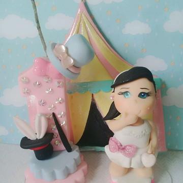 Topo de bolo Circo Rosa