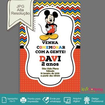 Convite Aniversário Mickey