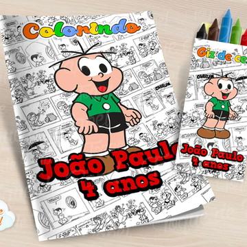 Kit colorir com giz de cera Cebolinha
