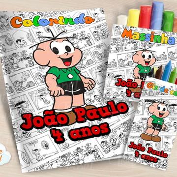 Kit colorir giz massinha Cebolinha