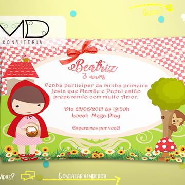 Convites Personalizados Chapeuzinho Vermelho Cute s/ env