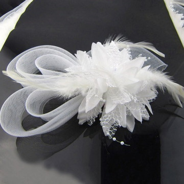 Casquete Mix Voilette Fascinator Branco
