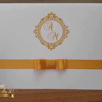 Convite de Casamento Dourado /Clássico