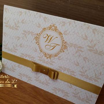 PROMOÇÃO Convite de Casamento Dourado
