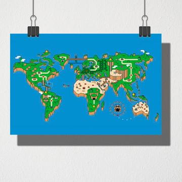 Poster A4 Mapa mundi Mario