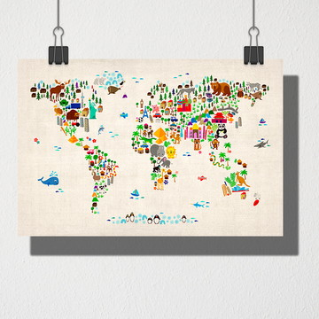 Poster A4 Mapa mundi animais
