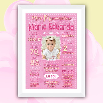 Chalkboard Aniversário Fundo Rosa Bebê