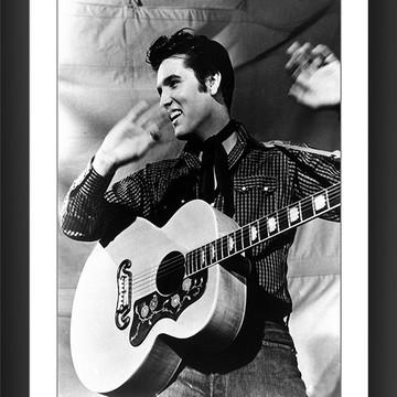 Quadro Elvis Presley Rock Guitarra Violão Retro Preto Branco