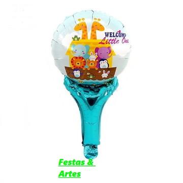 12 Balões Enfeite Animais,Arca de Noé + Bases