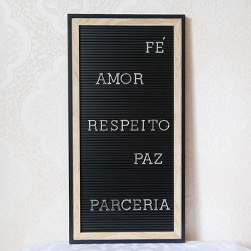 Letter Board Madeira/Preto - Quadro Letreiro - 52x27cm