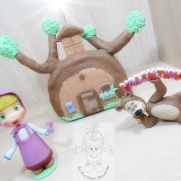 Topo de bolo vela Masha e o urso