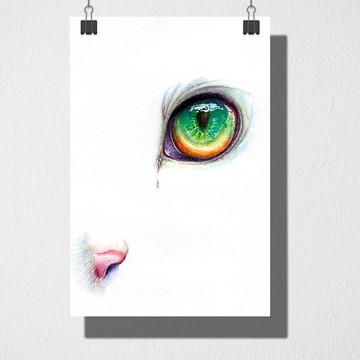 Poster A4 Olho verde de gato