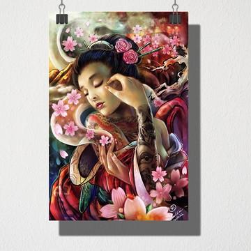 Poster A4 Japonesa e rosas