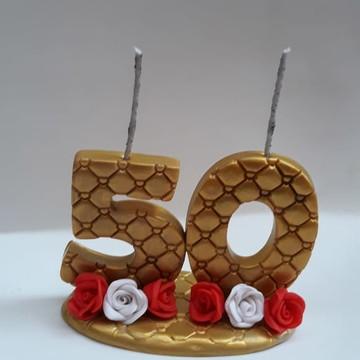 Vela de Aniversário - Bodas de Ouro